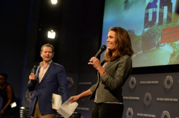 ESPN's Jeremy Schaap and Julie Foudy preview the 2014 FIFA World Cup at an event in New York (Joe Faraoni/ESPN Images)