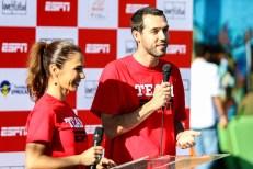 ESPN talent, Juliana Veiga and Gustavo Hofman, host inauguration of community sports court in São Remo, São Paulo. (Rogério Sousa Silva)