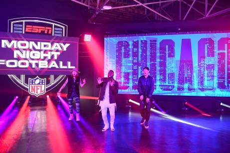 In Nashville, (L-R) Florida Georgia Line's Brian Kelly Jason Derulo and FLG co-lead singer Tyler Hubbard perform during the 2017 MNF kickoff video.(Scott Clarke/ESPN Images)