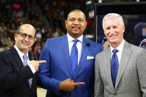 (L-R) Jeff Van Gundy, Mark Jackson and Mike Breen cover the 2017 NBA Finals. (Scott Evans/ESPN Images)