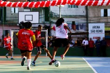 Local kids take part in soccer matches on new sports court in São Remo, São Paulo. (Rogério Sousa Silva)