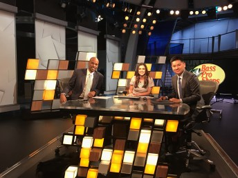 Jen Lada began Thursday morning quarterbacking First Take with Bomani Jones (L) and Pablo Torre. (Nicole Caporaso/ESPN)