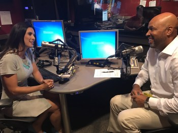After her First Take hosting role, Lada interviewed ESPN NFL reporter Jim Trotter for the SC Featured Podcast. (Nicole Caporaso/ESPN)