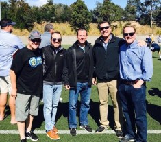 Director Steve Turnberger, Play by play Roy Philpott, Sideline Quinnt Kessenich, Analyst Tom Ramsey & Producer Bryan Jaroch. (Photo courtesy of Roy Philpott)