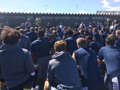 Rice players huddle up to hear from head coach David Bailiff. (Quint Kessenich/ESPN)