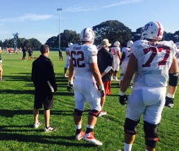 The Stanford Cardinal take the practice field. (Photo courtesy of Quint Kessenich)