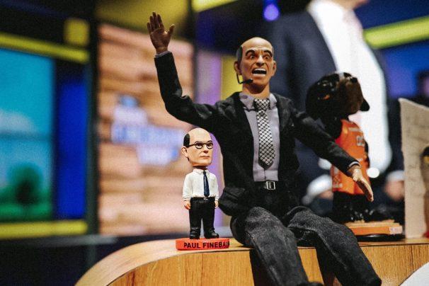 Bobblehead Paul Finebaum stands tall. (Lacey Gandee/ESPN)