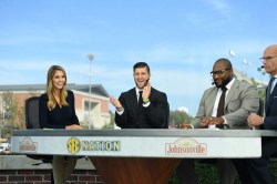 (L-R) Laura Rutledge, Tim Tebow, Marcus Spears and Paul Finebaum on the set of SEC Nation. (Wade Rackley/ ESPN Images)