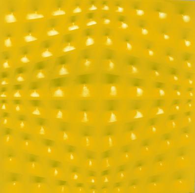 """Stefano Brunello, """"Out"""", 2010, tela estroflessa gialla, cm 70x70. Courtesy Lattuada Studio, Milano"""