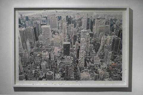 Souvenir New York, 2012 stampa fotografica su carta d'Amalfi e tecnica mista, cm. 75x107