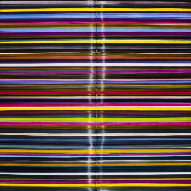 Giovanni Lombardini, Rime, tecnica mista su formica applicata su tavola,cm 150X150, 2008. courtesy Galleria PoliArt, Milano