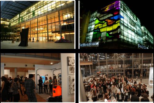 Vedute interne ed esterne di Spazio Eventiquattro e PwC durante la scorsa edizione di AAM - Arte Accessibile Milano