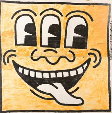 Murale della Marquette University Milwaukee, Wisconsin, 1983 Retro, particolare della serie di dodici pannelli raffiguranti Baby e Dog Keith Haring artwork © Keith Haring Foundation