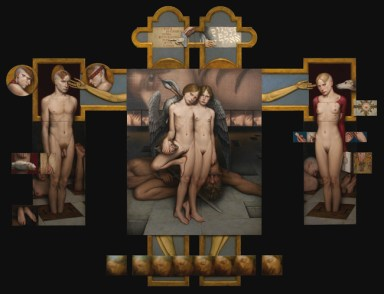 Dino Valls, Psicostasia, olio su tela, cm 216x260