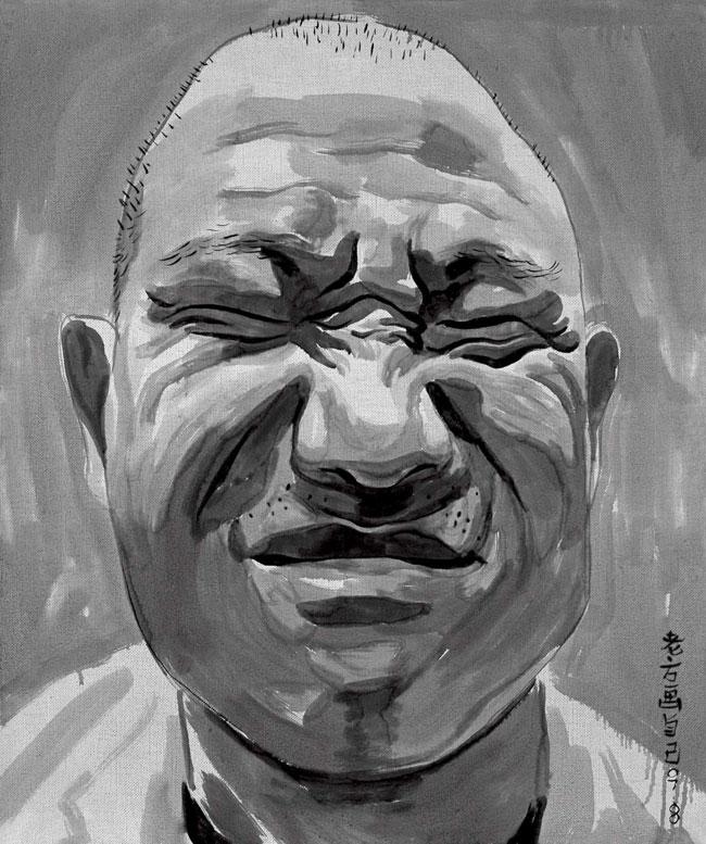 Fang Lijun 2007 Portraits Series, 2007 olio su tela/oil on canvas, 28 elementi. Foto: Paolo Robino