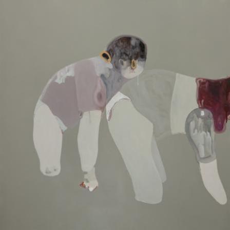 G. Castelli, Il peso della grazia, 2013, acrilico, olio e smalto su tela, cm 100x100