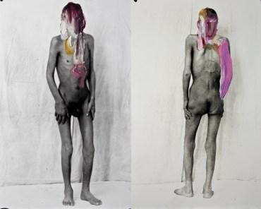 Christian Fogarolli, polittico martirio cod. 458923 - 2012, olio su fotografia da lastra negativa in vetro_1920, 80 x 100 cm