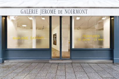 """Veduta della mostra """"Marjane Satrapi - Peintures"""" esterno galleria, 30 gennaio - 23 marzo 2013 © Galerie Jérôme de Noirmont"""