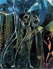 Max Ernst, Danzatore sotto il cielo stellato (Foresta), 1951, olio su tela, cm 45x39, Collezione privata