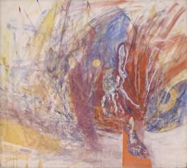 Tancredi Parmeggiani, Peccato carnale e il rosso cardinale - Omaggio al pittore Giulio Turcato, 1962, olio su tela, cm 155x172, Collezione Beatrice Monti Della Corte