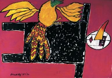 Corneille, Le buratin et l'oiseau, 1973, tecnica mista, cm 65x98, Collezione in Ca' La Ghironda, Modern Art Museum, Zola Predosa (BO)