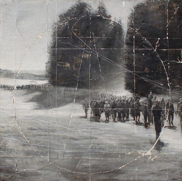 Andrea Mariconti, Ambarvalia, 2012, olio cenere e petrolio su tela, cm 100x100