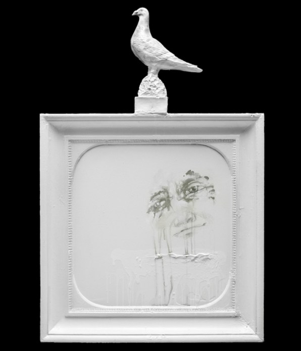 Panel with Pigeon Excrement, 2012, enamel on wood, cm 111x72x10