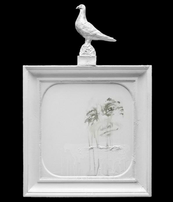 Panel with Pigeon Excrement, 2012, enamel on wood, cm 111x72x10