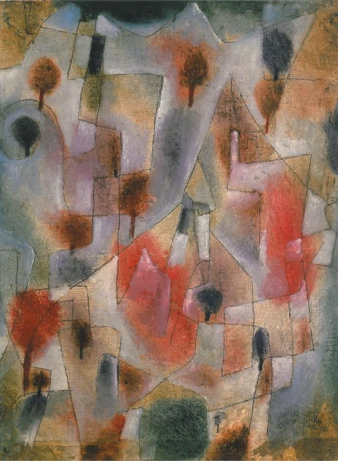 Paul Klee, Landschaft mit blauen und roten Bäumen, 1920, olio e penna su imprimitura a gesso su tela su cartone, cm 41x32, Collezione privata