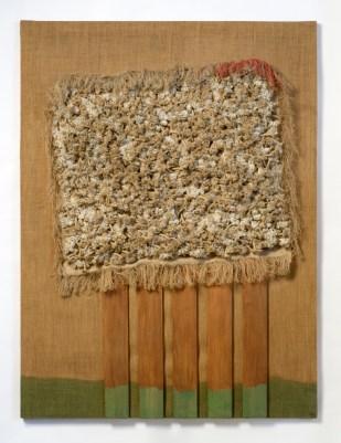 Jack Clemente, Senza titolo, 1971, legni e corde applicati su tela, cm 130x97, Studio Gariboldi, Milano-Begamo
