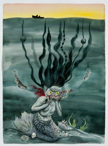 Shary Boyle, Self-Immolation, 2011, ink and gouache on paper, cm 72.4 x 51.4. Courtesy the artist and Jessica Bradley Inc.