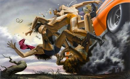 Nicola Verlato,Road to Nowhere, 2013, olio su tela, cm 149,9x243,9
