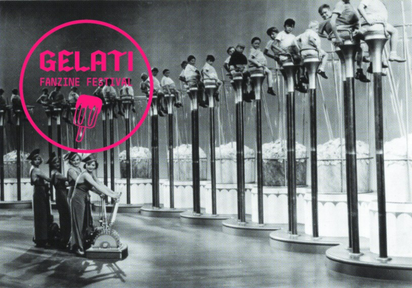 GELATI fanzine festival 2013. A group of overweight children are poised on exceedingly high stools over huge vats of ice-cream in a still from an unknown film. (Photo by Henry Guttmann/Getty Images)