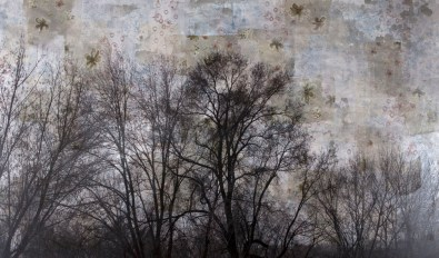 "Manuel Felisi, ""Tracciati"", 2013, tecnica mista su juta, cm 150 x 200"