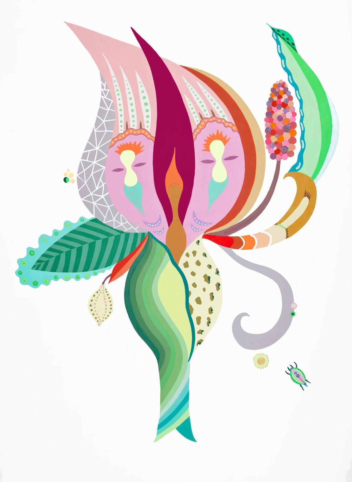 Fulvia Mendini, Peonia con ventaglio, 2012, acrilici su carta, cm 70 x 50