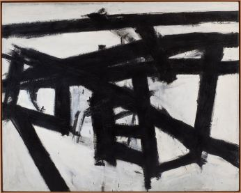 Franz Kline, Mahoning, 1956, olio e collage di carta su tela, cm 204.2x255.3, Whitney Museum of American Art, New York; purchase, with funds from the Friends of the Whitney Museum of American Art © 2013 The Franz Kline Estate / Artists Rights Society (ARS), New York Foto di Sheldan C. Collins