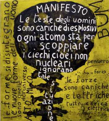 Enrico Baj, Bum-Manifesto Nucleare, 1952, olio su tela, 103x94 cm, remake del 1997