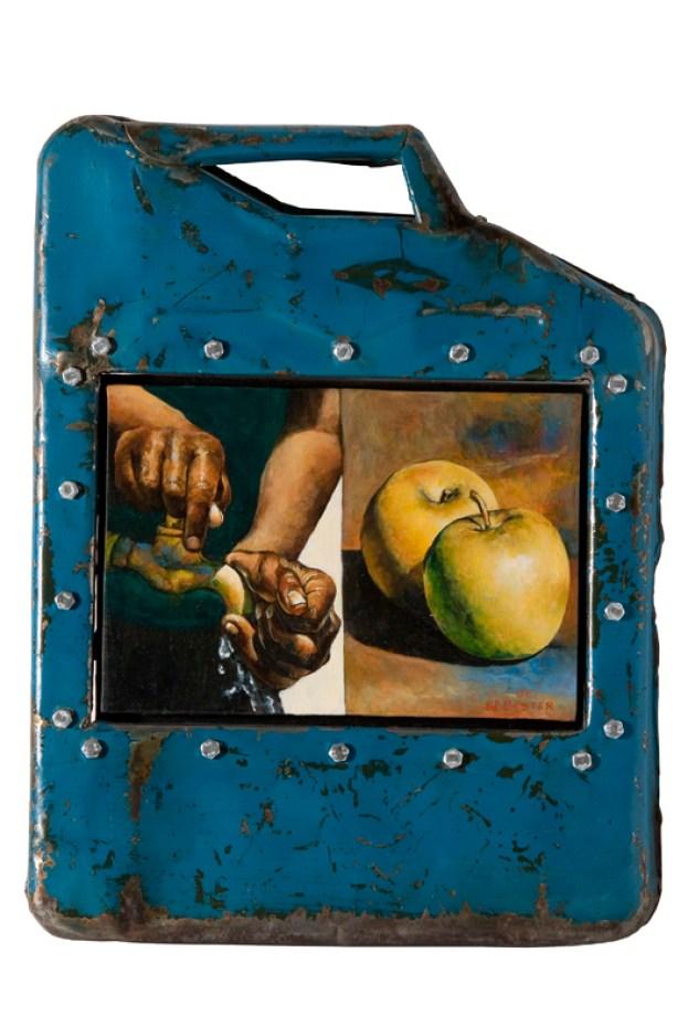 Willie Bester, Still life, mixed media in metal box cm 47x36. Courtesy L'ARIETEartecontemporanea Bologna