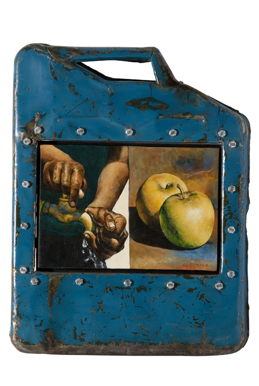 Willie Bester, Still life, mixed media in metal box cm 47x36. Courtesy L'ARIETEartecontemporanea Bologna