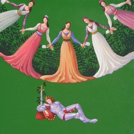 Cinque volte in sogno, 2013, acrilico e olio su tela, cm 45x45
