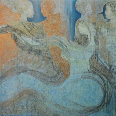 Claudio Nicolini, Nel Posto Giusto al Momento Sbagliato, 2002, acrilici su tela, cm 140x140, collezione privata