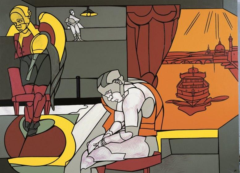 Valerio Adami, Malinconia. Tema e variazioni, 2004, acrilico su tela, 198x265 cm