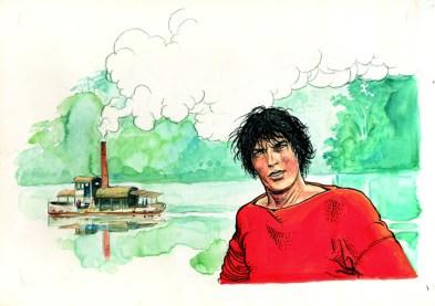 Milo Manara, HP Bergman, cover originale di copertina, matita e china e acquerello, m 49x35 Courtesy Little Nemo Art Gallery, Torino