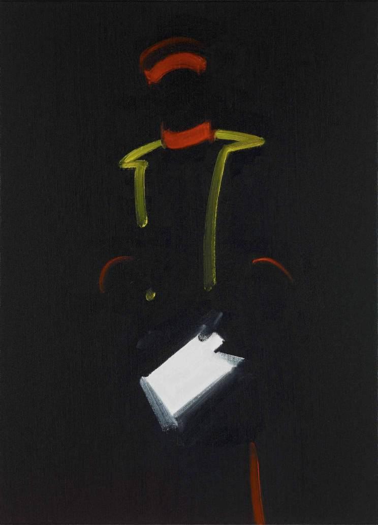 """Michael van Ofen, Signifier and Décor of Political Power in: """"Porträt Constantin von Alvensleben auf dem Schlachtfeld von Vionville"""", 1903, 164x115 cm, 2013 olio su tela, 52x38 cm © The artist"""