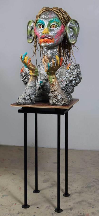 Ashley Bickerton, Big Ears, 2013, pittura a olio su resina in fibra di vetro, acciaio, legno, capelli, 193x63.5x58 cm (4)