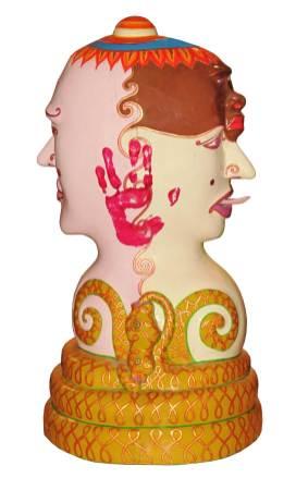 Luigi Ontani, Inconforme, 2007-2009, maschera di legno di pule dipinta, 73x37x33 cm