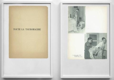 Matteo Gatti, Toute la tauromachie, 2013, dittico, pagine di libro, cornice a cassetta, 15x21cm