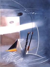 Renzo Bergamo, Là dove il mistero ti lascia sospeso, 1993, olio su tela, 140x100 cm (Immagine e somiglianza)