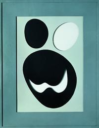 Jean Arp, Tête, 1957, cartone forato, dipinto, 65x51 cm
