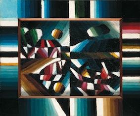 Arthur Segal, Mondscheinlandschaft und Ruderer, 1918, olio su tela, 32.5x41.5 cm
